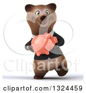 Clipart Of A 3d Happy Brown Business Bear Walking And Holding A Piggy Bank Royalty Free Illustration