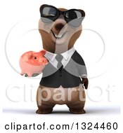 Clipart Of A 3d Happy Brown Business Bear Wearing Sunglasses And Holding A Piggy Bank Royalty Free Illustration