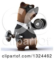 Clipart Of A 3d Happy Brown Business Bear Wearing Sunglasses Working Out Facing Right Doing Bicep Curls With Dumbbells Royalty Free Illustration