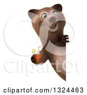 Poster, Art Print Of 3d Happy Brown Bear Holding A Beverage Around A Sign