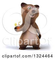 Poster, Art Print Of 3d Happy Brown Bear Holding A Beverage