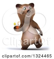 Poster, Art Print Of 3d Happy Brown Bear Walking And Holding A Beverage