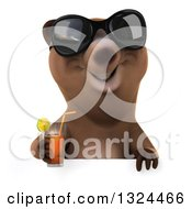 Poster, Art Print Of 3d Happy Brown Bear Wearing Sunglasses And Holding A Beverage Over A Sign
