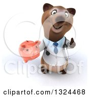 Clipart Of A 3d Happy Brown Bear Doctor Or Veterinarian Holding Up A Thumb And A Piggy Bank Royalty Free Illustration