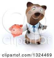 Clipart Of A 3d Happy Brown Bear Doctor Or Veterinarian Holding Up A Thumb Down And A Piggy Bank Royalty Free Illustration
