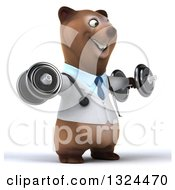 Clipart Of A 3d Happy Brown Bear Doctor Or Veterinarian Working Out Facing Slightly Right Doing Lateral Raises With Dumbbells Royalty Free Illustration by Julos