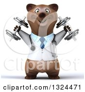 Clipart Of A 3d Happy Brown Bear Doctor Or Veterinarian Working Out Doing Shoulder Presses With Dumbbells Royalty Free Illustration