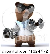 Clipart Of A 3d Happy Brown Bear Doctor Or Veterinarian Working Out Wearing Sunglasses And Doing Bicep Curls With Dumbbells Royalty Free Illustration by Julos