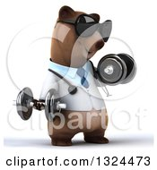Clipart Of A 3d Happy Brown Bear Doctor Or Veterinarian Working Out Facing Right Wearing Sunglasses And Doing Bicep Curls With Dumbbells Royalty Free Illustration by Julos
