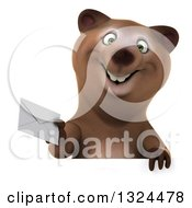 Clipart Of A 3d Happy Brown Bear Walking And Holding An Envelope Over A Sign Royalty Free Illustration