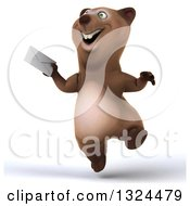 Clipart Of A 3d Happy Brown Bear Jumping And Holding An Envelope Royalty Free Illustration