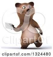 Clipart Of A 3d Happy Brown Bear Walking And Holding An Envelope Royalty Free Illustration