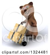 Clipart Of A 3d Happy Brown Bear Smiling And Moving Boxes On A Dolly Royalty Free Illustration