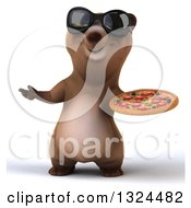 Clipart Of A 3d Happy Brown Bear Wearing Sunglasses Presenting And Holding A Pizza Royalty Free Illustration