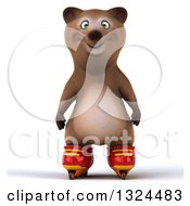 Clipart Of A 3d Happy Brown Bear Roller Blading Royalty Free Illustration