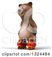 Clipart Of A 3d Happy Brown Bear Facing Left And Roller Blading Royalty Free Illustration