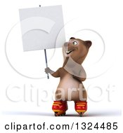 Clipart Of A 3d Happy Brown Bear Roller Blading Holding Up And Pointing To A Blank Sign Royalty Free Illustration