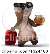 Clipart Of A 3d Happy Brown Bear Traveler Wearing Sunglasses Holding Honey And Walking With A Rolling Suitcase Royalty Free Illustration by Julos