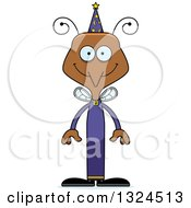 Clipart Of A Cartoon Happy Mosquito Wizard Royalty Free Vector Illustration by Cory Thoman