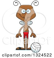 Clipart Of A Cartoon Happy Mosquito Beach Volleyball Player Royalty Free Vector Illustration