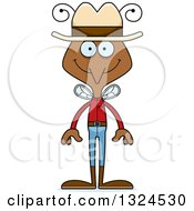 Clipart Of A Cartoon Happy Mosquito Cowboy Royalty Free Vector Illustration