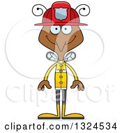 Clipart Of A Cartoon Happy Mosquito Firefighter Royalty Free Vector Illustration