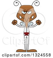 Clipart Of A Cartoon Angry Karate Mosquito Royalty Free Vector Illustration