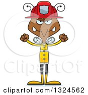 Clipart Of A Cartoon Angry Mosquito Firefighter Royalty Free Vector Illustration