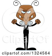 Clipart Of A Cartoon Angry Mosquito Wedding Groom Royalty Free Vector Illustration