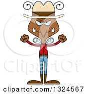Clipart Of A Cartoon Angry Mosquito Cowboy Royalty Free Vector Illustration