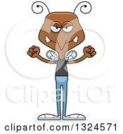 Clipart Of A Cartoon Angry Casual Mosquito Royalty Free Vector Illustration by Cory Thoman