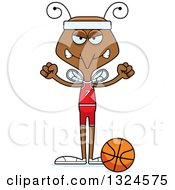 Clipart Of A Cartoon Angry Mosquito Basketball Player Royalty Free Vector Illustration by Cory Thoman