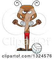 Clipart Of A Cartoon Angry Mosquito Beach Volleyball Player Royalty Free Vector Illustration by Cory Thoman