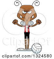 Clipart Of A Cartoon Angry Mosquito Volleyball Player Royalty Free Vector Illustration by Cory Thoman