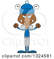 Clipart Of A Cartoon Angry Mosquito In Winter Clothes Royalty Free Vector Illustration by Cory Thoman