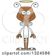 Clipart Of A Cartoon Happy Mosquito Angel Royalty Free Vector Illustration by Cory Thoman