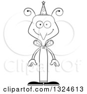 Lineart Clipart Of A Cartoon Black And White Happy Mosquito Wizard Royalty Free Outline Vector Illustration