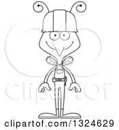 Cartoon Black And White Happy Mosquito Construction Worker