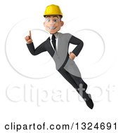 Clipart Of A 3d Young White Male Architect Flying And Holding Up A Finger Royalty Free Illustration