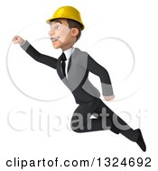 Clipart Of A 3d Young White Male Architect Flying Up To The Left Royalty Free Illustration