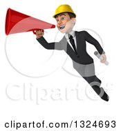 Clipart Of A 3d Young White Male Architect Flying With Blueprints And A Megaphone Royalty Free Illustration