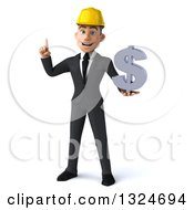 Clipart Of A 3d Young White Male Architect Holding Up A Finger And A Dollar Symbol Royalty Free Illustration