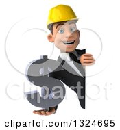 Clipart Of A 3d Young White Male Architect Holding A Dollar Symbol Around A Sign Royalty Free Illustration