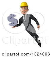 Clipart Of A 3d Young White Male Architect Flying And Holding A Dollar Symbol Royalty Free Illustration