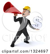 Clipart Of A 3d Young White Male Architect Holding A Dollar Symbol And Announcing With A Megaphone Royalty Free Illustration
