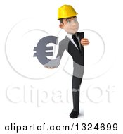 Clipart Of A 3d Full Length Young White Male Architect Holding A Euro Symbol And Looking Around A Sign Royalty Free Illustration