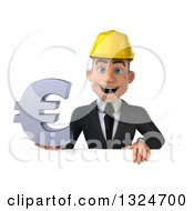 Clipart Of A 3d Young White Male Architect Holding A Euro Symbol Over A Sign Royalty Free Illustration