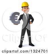 Clipart Of A 3d Young White Male Architect Holding A Euro Symbol Royalty Free Illustration