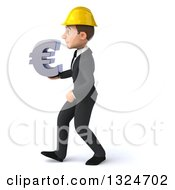 Clipart Of A 3d Young White Male Architect Walking To The Left And Holding A Euro Symbol Royalty Free Illustration