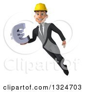 Clipart Of A 3d Young White Male Architect Flying And Holding A Euro Symbol Royalty Free Illustration